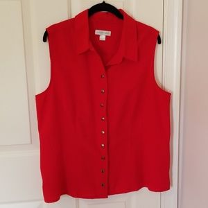 Red button down sleeveless shirt